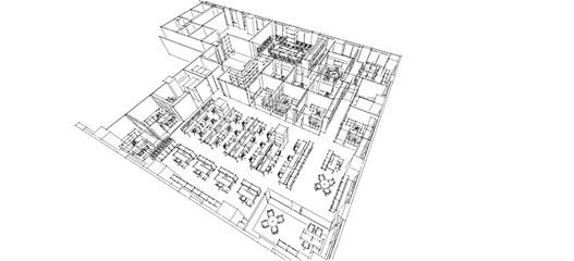 Office isometric sketch line
