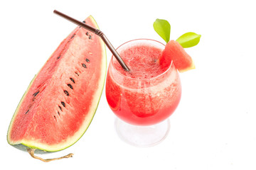 Water melon cocktail on white background