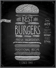 Wall Mural - Best Burgers Poster - chalkboard style.