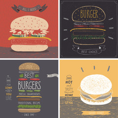 Wall Mural - Burger cards - Hand drawn style.