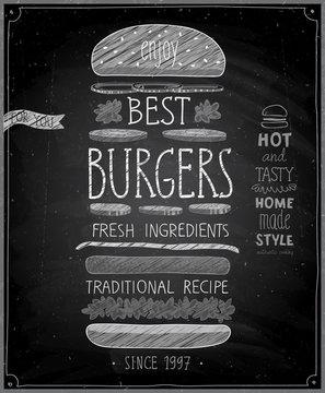 Best Burgers Poster - chalkboard style.