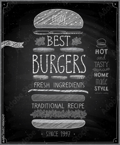 Wall mural Best Burgers Poster - chalkboard style.