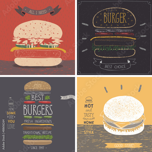 Wall mural Burger cards - Hand drawn style.