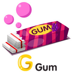 Illustration of g font with gum