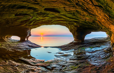 Sunset Sea Cave Wall mural