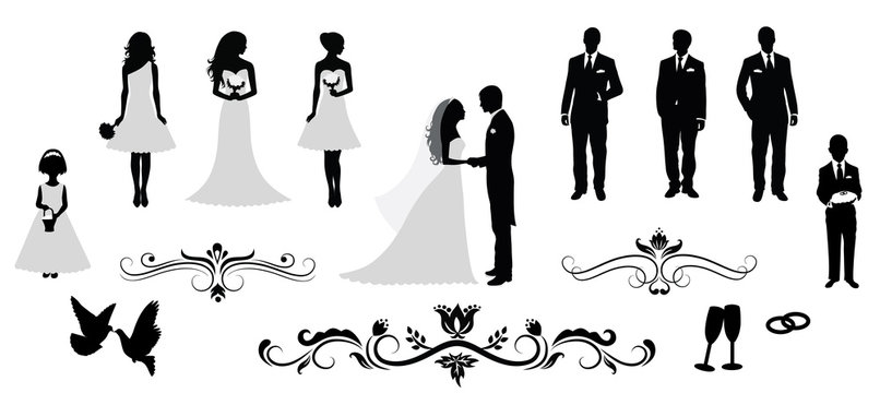 Set of vector wedding silhouettes.