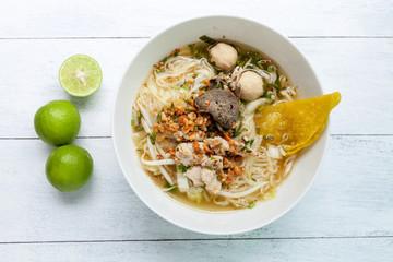 Closeup Thai style Tom Yum noodle soup