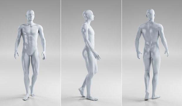 Uomo nudo tre angolazioni