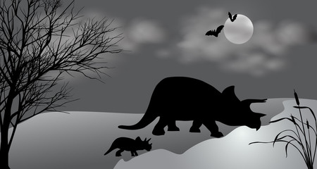 Triceratops with kid against the landscape. Vector illustration.