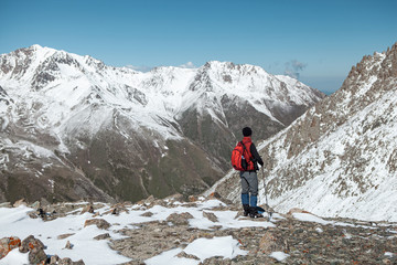 Trans-Ili Alatau mountains. Top view from Big Almaty peak.