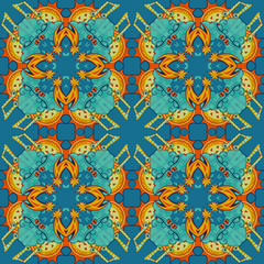 Garden Poster Moroccan Tiles colorful abstract mandala shapes 7