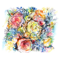 colorful watercolor bouquet flowers/ buttercups pink/ white & yellow roses/ green shoots/ blue flowers/ picturesque background