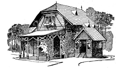 Wooden cottage engraving