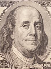 Benjamin Franklin portrait from a $100 bill