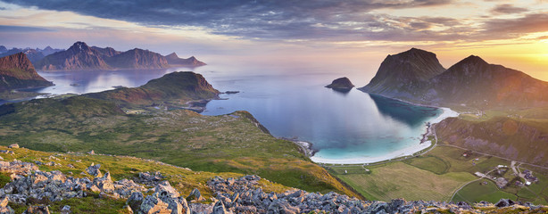 Garden Poster Scandinavia Norway. Panoramic view of Lofoten Islands taken from Holadsmelen, during summer sunset.