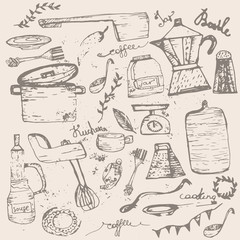 Vector Set of vintage doodle kitchen and cooking supplies with