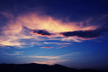 myriads beautiful afterglow at sunset