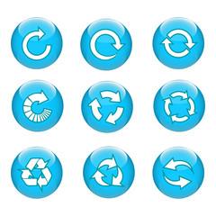 3D Arrow Circle Button Blue Color