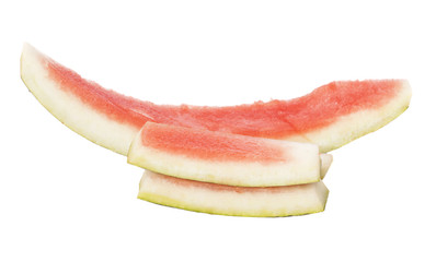 Watermelon slice eaten, isolated over white background