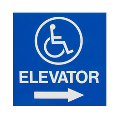 isolated handicap elevator sign