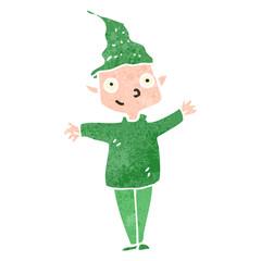 retro cartoon christmas elf