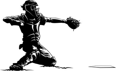 Silhouette of a baseball catcher with highlights.