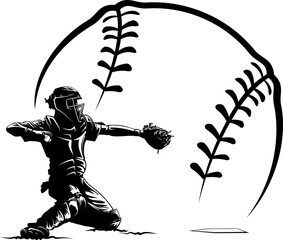 Baseball catcher in front of a stylized baseball.