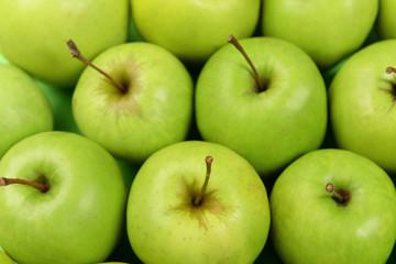 Ripe green apples close up