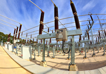 High voltage switchyard in electrical substation in fisheye perspective
