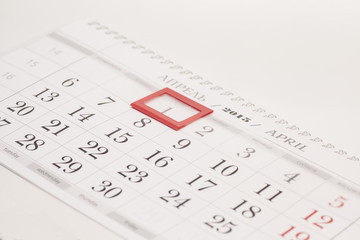 2015 year calendar. April calendar with red mark on framed date