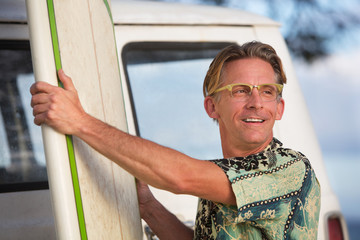 Cheerful Man with Surfboard
