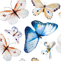 Watercolor butterflies, seamless floral vintage pattern backgrou