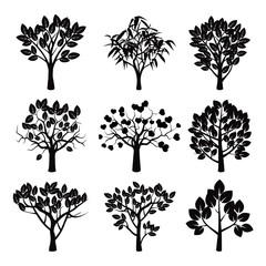 Set of black vector plants and trees