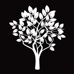 White Tree and Black Background. Vector Illustration.
