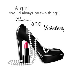 Fashion Illustration with text background - fashion and beauty illustration - black stiletto shoe with pearls and lipstick