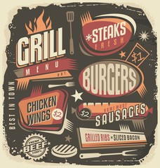 Retro grill menu design template
