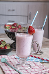 Strawberry smoothie in a glass