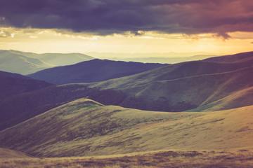 Poster Heuvel Autumn mountain hills at sunset.