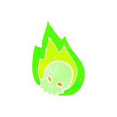 retro cartoon flaming green skull
