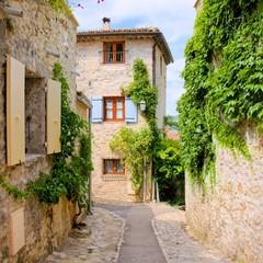Ładni kamienni domy w uroczej wiosce w Provence, Francja - 88641878