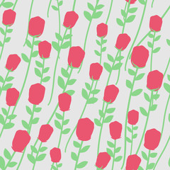 Flowers seamless pattern. Red roses with green stems. Floral Ret