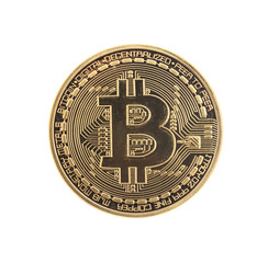 Golden Bitcoin coin isolated on white