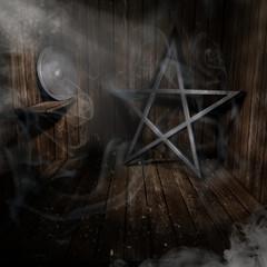 Pentagramm Scheibe Raum Bretter