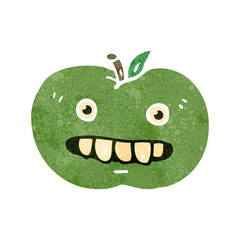 retro cartoon ugly apple