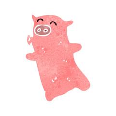 retro cartoon pig
