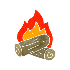 retro cartoon burning logs