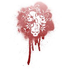 Printed roller blinds Watercolor Skull Graffiti skull pattern