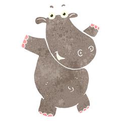 retro cartoon hippo