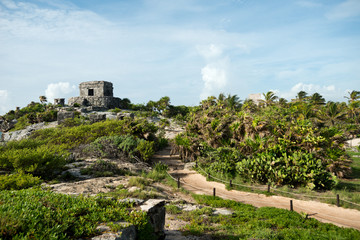 Templo del Viento at Tulum Ruins in  Mexico