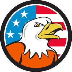 American Bald Eagle Head Angry Flag Circle Cartoon